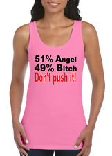 Womens Funny Sayings Jokest tshirt Vests-Angel..Bitch-On Gildan Tank Top Vest