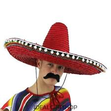 MEXICAN SOMBRERO LARGE RED HAT ACCESSORY HOLIDAY FANCY DRESS TASH WESTERN BANDIT