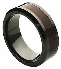 8mm Black Ceramic Ring Men Women Wedding Band w/ Burgundy Wood Laminate Inlay