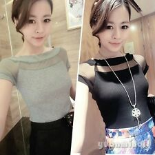 Ladies Girls Knitting Mesh Sheer Solid Boat Neck Casual Party T-Shirt Tee Shirts