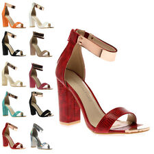 Ladies Ankle Strap Cuff Womens Snake Strappy Block Heel Sandal Shoes Size 3-8