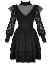 Spin Doctor Nevermore Dress Black Steampunk Goth VTG Lace Long Sleeve