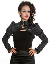 Spin Doctor Octavia Bolero Top Black White Pinstripe Goth Cropped Jacket Shrug