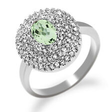 1.97 Ct Oval Green Amethyst 925 Sterling Silver Ring