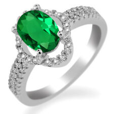 1.74 Ct Oval Green Simulated Emerald 925 Sterling Silver Ring