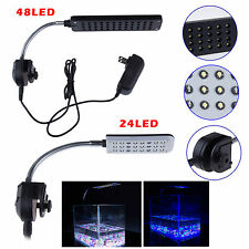 24 48 LED Aquarium Fish Tank Water Plant 3 Mode Clip White Blue Light Bulb Lamp