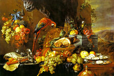 SUMPTUOUS STILL LIFE WITH PARROT 1660 FOOD PAINTING BY JAN DAVIDSZ HEEM REPRO