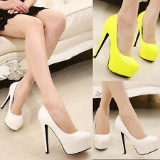 Hidden Platform Pumps Stilettos Sexy Faux Leather High Heels Womens Prom Shoes