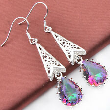 TOP Fashion Lady Natural Rainbow Fire Mysical Topaz Crystal Silver Earrings