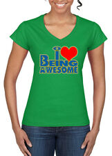 Womens Funny Sayings Slogans Awesome V-Neck tshirt On Gildan Softstyle tee