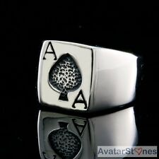 Men's Rocker Cowboy Bling 316L Stainless Steel Ace Spade Poker Card Ring R4V46