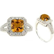 Sterling Silver Ring Square Citrine and Round White CZ Stones 6470/CIT/CZWH/R