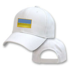 UKRAINE UKRAINIAN WHITE FLAG COUNTRY EMBROIDERY EMBROIDED CAP HAT