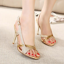 Womens Summer Slingback Glitter Metallic High Heels Stiletto Pumps Sandals Shoes