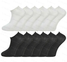 6 OR 12 PAIRS MENS BLACK OR WHITE COTTON RICH TRAINER SOCKS SHOE LINERS 6-11