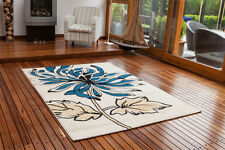 Cheap Soft High Quality Blue Cream Floral Design Mat Small Flower Patterned Rugs