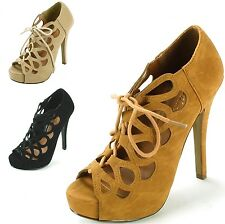 Womens Stiletto Heel Platform Pumps Lace Up Sexy Cutout Open Peep Toe Shoes New