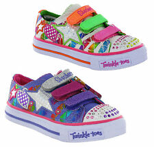 New Girls Kids Infants Skechers Twinkle Toes Light Up Velcro Shoes Trainers