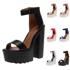 LADIES ANKLE STRAPPY WOMENS CHUNKY CLEATED PEEP TOE HIGH HEEL SANDALS SIZE 3-8