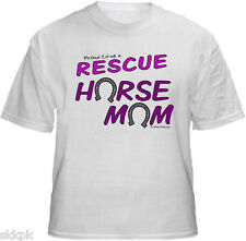 Animal Pet Rescue T-Shirts Proud To Be A Rescue Horse Mom - New  White  Ash Grey