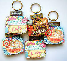 PERSONALISED PERSONALITY KEYRING BOOK GIRLS NAMES INITIALS A-I GIRLIE GIFT NEW