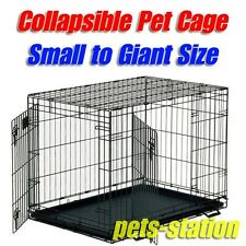 Collapsible Metal Dog Crate Kennel Portable Puppy Cat Rabbit House Pet Cage