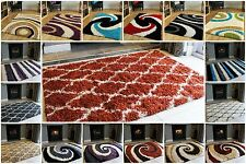 Modern Designer Shaggy Rug Small Extra Large Shag Pile Cheap Rugs Mats Red Cream