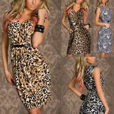 2014 Lady Celeb Leopard Animal Print Club Party Fitted Bodycon Pencil Midi Dress