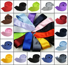 Big Offer New Slim Plain Men's Solid Skinny Neck Party wedding Ties Silk Necktie