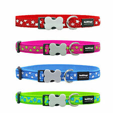 RED DINGO DESIGNER STARS DOG COLLAR all sizes and colours collars walk puppy