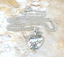 Special Teacher on Apple Pewter Charm on Link Necklace - 5060