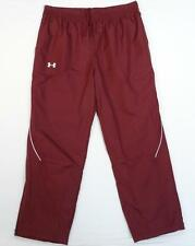 Under Armour All Season Gear Loose Fit Burgundy Mesh Lined Track Pants Mens NWT