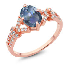 2.66 Ct Cassiopeia Mystic Topaz & Created Sapphire Rose Gold Plated Silver Ring