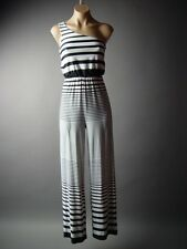 Nautical Black White Stripe One Shoulder Top Palazzo Pants 81 mv Jumpsuit S M