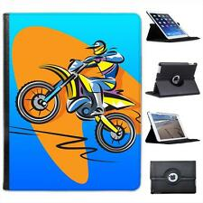 Motocross Racer Riding a Motorcycle Folio Wallet Leather Case For iPad 2, 3 & 4
