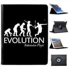 Evolution Of A Badminton Player Folio Wallet Leather Case For iPad 2, 3 & 4