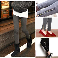 Winter Warm Thicken Wool Zipper Stretchy Tights Leggings Pants Trousers 3 Colors