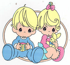 "5-8.5"" PRECIOUS MOMENTS BOY  GIRL CHARACTER  WALL STICKER GLOSSY BORDER CUT OUT"