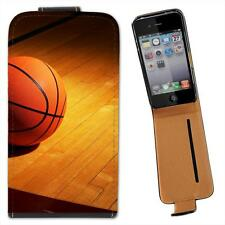 Basketball on Wooden Court Leather Flip Case for Apple iPhone 4 4S