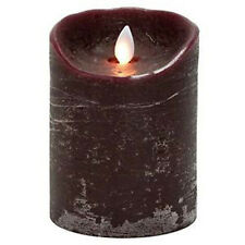 BURGUNDY FLAMELESS PILLAR CANDLE, lifelike flickering flame, 5 hour timer