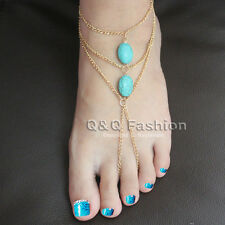 Double Turquoise Bead Anklet Ankle Bracelet Foot Thong Toe Chain Sandal Beach