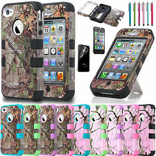 Hybrid Rugged Rubber Matte Hard Case Cover For iPhone 4 4S +Screen protector+Pen
