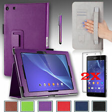 """For Sony Xperia Z2 10.1"""" Tablet PU Leather Cover Case Stand + Gift Accessories"""