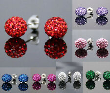 FREE SHIP!! Sparkle Round Crystal Ball Stud Earrings for Wedding Party Ladies
