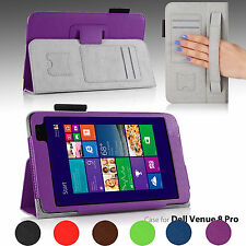 PU Leather Folio Stand Case Cover for 8-inch Dell Venue 8 Pro Windows Tablet