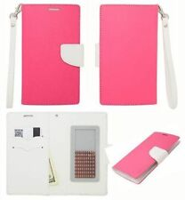 Eagle Pink White Leather ID Flip Wallet Universal Pouch Cover Case For LG Phones