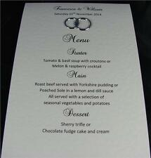 10 Personalised A6 Wedding Table Menu Cards White Ivory Gold Silver Rings