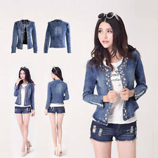 New Women Retro Cool Long Sleeve Blue Jean Denim Girls Vintage Shirt  Jacket