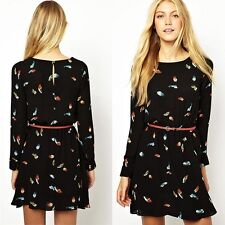 Womens European Fashion Crewneck Feather Print Long Sleeve Mini Dress with Belt