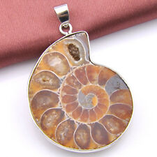 Holiday Gift Natural Handmade Ammonite Fossil Gemstone Silver Pendant necklace